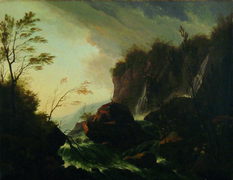 Ausstellung,Johann Kaspar Huber, Wasserfall im Gebirge, um ,1800, Kunstmuseum Thun,adela picon,sammelausstellung,